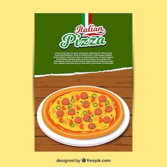 Italian pizza with cheese brochure