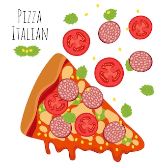 Italian pizza with sausage, tomato, cheese vector illustration