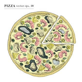 Italian pizza with seafood hand drawn vector illustration. can be use for pizzeria, cafe, shop, restaurant.