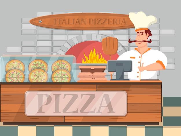 Итальянская пиццерия интерьер баннер в мультяшном стиле