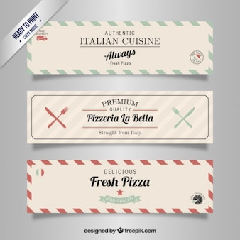 Italian restaurant banners in retro style