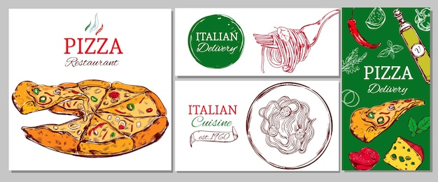 Italian restaurant corporate banner set with pizza pasta and different ingredients