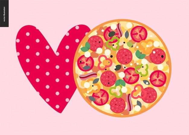 Italian restaurant heart and pizza