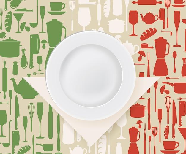 Italian restaurant menu design with plate