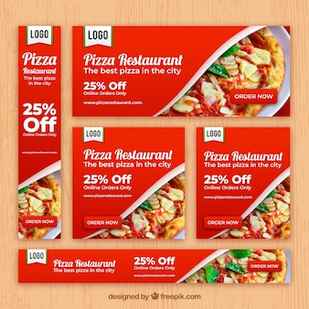 Italian restaurant web banner collection with photo