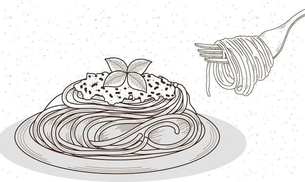 Italian spaghetti in dish and fork