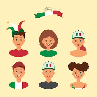 アクセサリーを持ったイタリアのサポーターは、彼らの国のチームをサポートするためにペイントと機器に直面しています