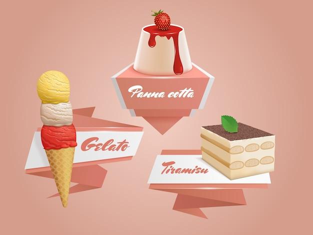 Italian sweets badges with panna cotta, tiramisu and gelato. traditional desserts set