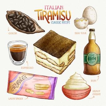Tiramisù italiana deliziosa ricetta dell'acquerello