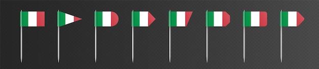 어두운 투명 배경에 고립 된 이탈리아 이쑤시개 플래그입니다. 금속 막대기에 있는 작은 깃발, festa della repubblica italiana 장식. 벡터 파티 요소 컬렉션입니다.