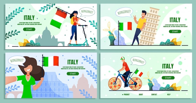 Italian travel culinary voyage landing page set