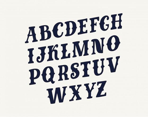 이탤릭체 알파벳 문자와 숫자. 글꼴 유형 디자인. 기울어 진 글자 기호. 양식, 경사 조판. 비스듬한, 복고풍 서체 템플릿