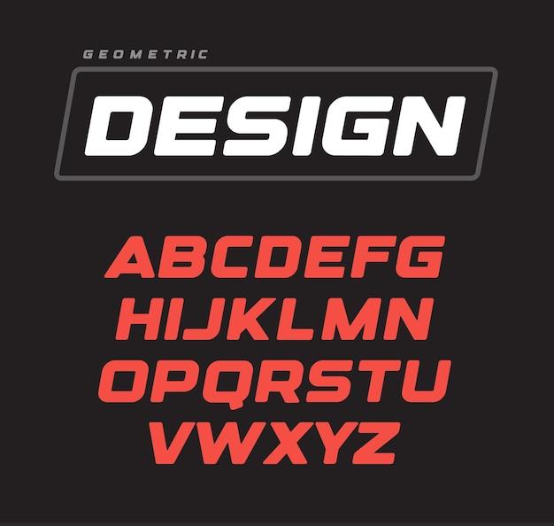 イタリックの大胆な幾何学的なアルファベットのデザイン。スポーツゲームのフォントテンプレート。