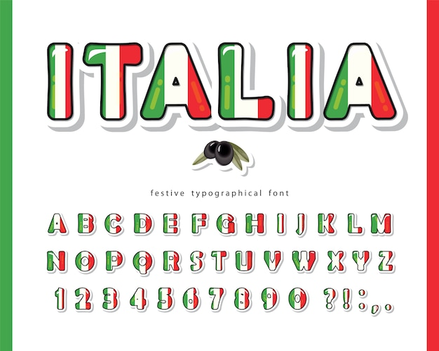 Italy cartoon font alphabet with letters and numbers