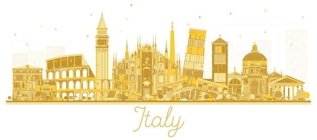 Золотой силуэт горизонта города италии с достопримечательностями. векторные иллюстрации. деловые поездки и концепция туризма с исторической архитектурой. городской пейзаж италии с достопримечательностями.