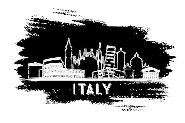 이탈리아 도시 스카이 라인 실루엣입니다. 손으로 그린 스케치. 벡터 일러스트 레이 션. 역사적인 건축과 비즈니스 여행 및 관광 개념. 랜드마크와 이탈리아 풍경입니다.