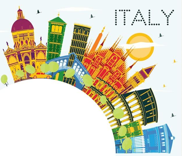 Горизонты города италии с цветными достопримечательностями и копией пространства. векторные иллюстрации. деловые поездки и концепция туризма с исторической архитектурой. городской пейзаж италии с достопримечательностями.