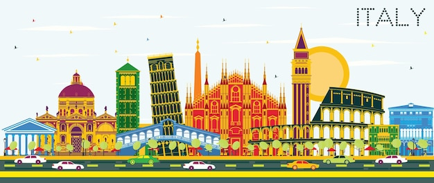 컬러 랜드마크가 있는 이탈리아 도시의 스카이라인. 벡터 일러스트 레이 션. 역사적인 건축과 비즈니스 여행 및 관광 개념입니다. 프레젠테이션 배너 현수막 및 웹사이트용 이미지.