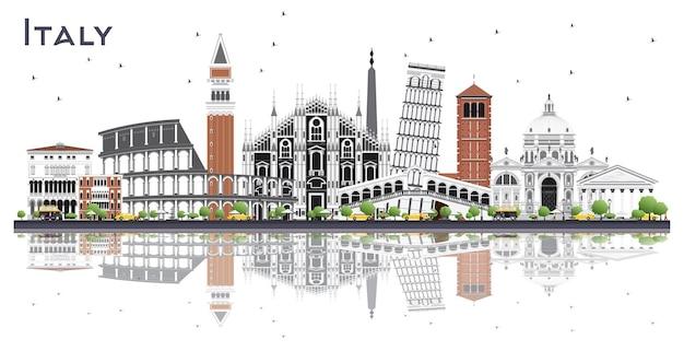 Горизонт города италии с серыми зданиями и размышлениями, изолированными на белом. векторные иллюстрации. деловые поездки и концепция туризма с современной архитектурой. городской пейзаж италии с достопримечательностями.