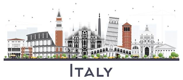 Горизонт города италии с серыми зданиями, изолированных на белом. векторные иллюстрации. деловые поездки и концепция туризма с современной архитектурой. городской пейзаж италии с достопримечательностями.