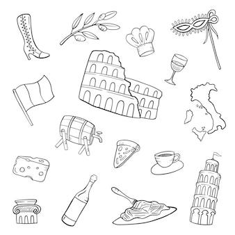 Италия страна нация каракули рисованной набор коллекций с контуром черно-белый стиль векторные иллюстрации