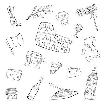 Italy country nation doodle hand drawn set collections with outline black and white style vector illustration