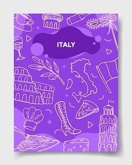 Italy country nation with doodle style for template of banners, flyer, books, and magazine cover vector illustration