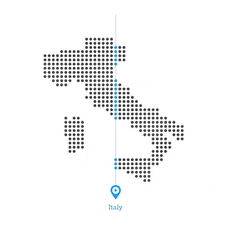 Italy doted map design vector