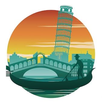 Italy famous landmark and symbol