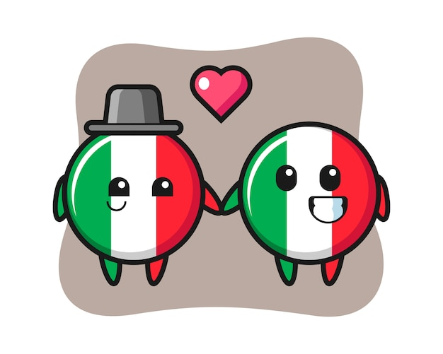 Italy flag badge cartoon character couple with fall in love gesture, cute style , sticker, logo element