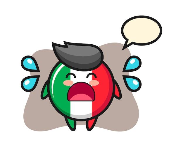 泣いているジェスチャー、かわいいスタイル、ステッカー、ロゴの要素を持つイタリアの旗バッジ漫画イラスト