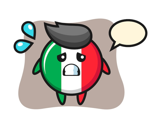 Italy flag badge mascot character with afraid gesture, cute style , sticker, logo element