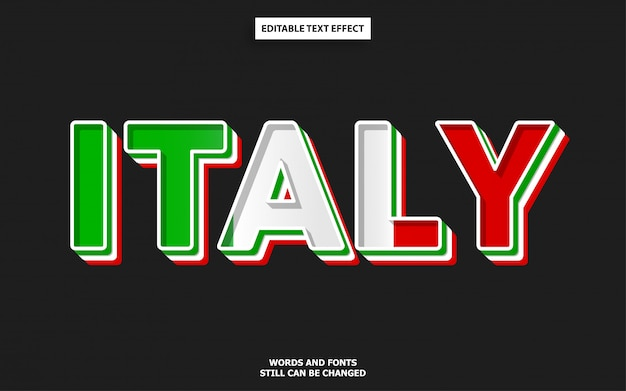 Italy flag color font effect