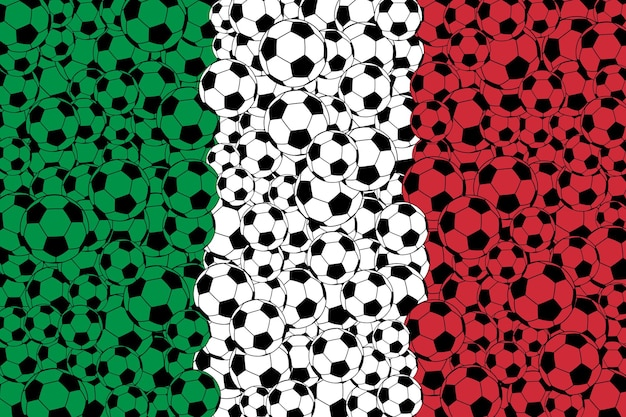 Italy flag, consisting of football balls in green, white and red colors
