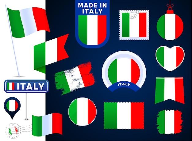 이탈리아 국기 벡터 컬렉션입니다. 평평한 스타일의 공휴일과 공휴일을 위한 다양한 모양의 국기 디자인 요소의 큰 집합입니다. 소인, 만든, 사랑, 원, 도로 표지판, 파