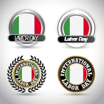 Italy flag with labour day design vector