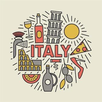 Италия, плоская иллюстрация, набор иконок, путешествия фон.