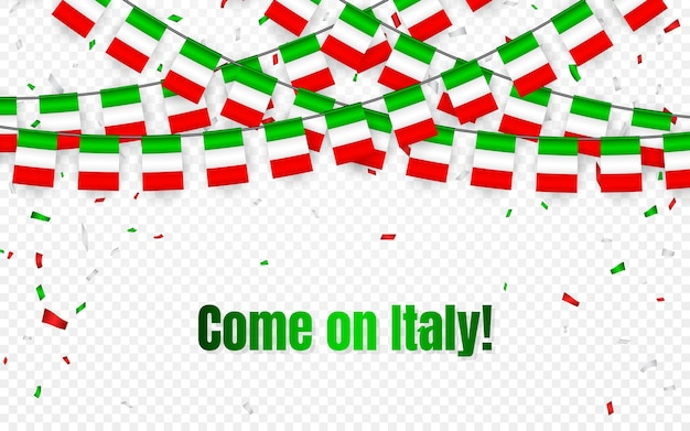 Italy garland flag with confetti on transparent background, hang bunting for celebration template banner, come on italy,