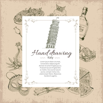Italy hand drawn card template