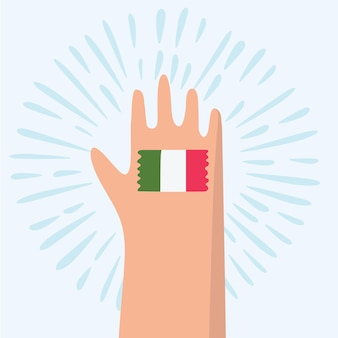 이탈리아 손으로 그린 텍스트 글자 단어와 이탈리아 국기