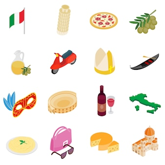 Italy isometric 3d icons set isolated on white background