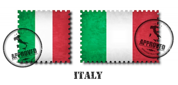 Italy or italian flag pattern postage stamp