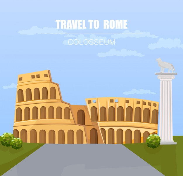 Italy landmark attractions with colosseum architecture