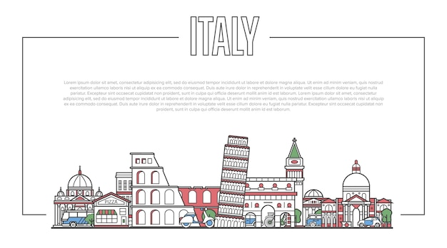 Италия ориентир панорама в линейном стиле