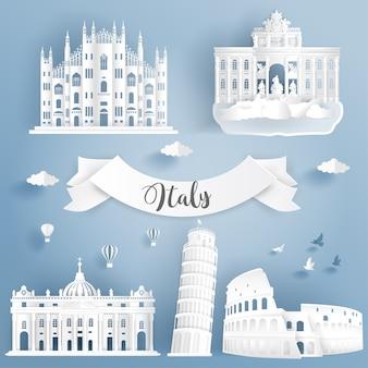 Italy landmarks set