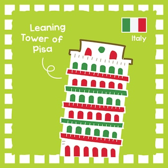 Italy leaning tower of pis landmark illustration with cute stamp design