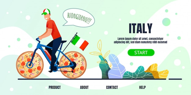 Italy lettering landing page with metaphor cyclist