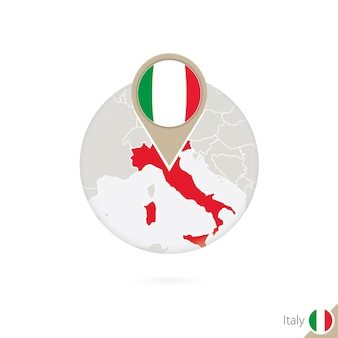 Карта италии и флаг в круге. карта италии, булавка флага италии. карта италии в стиле земного шара. векторные иллюстрации.