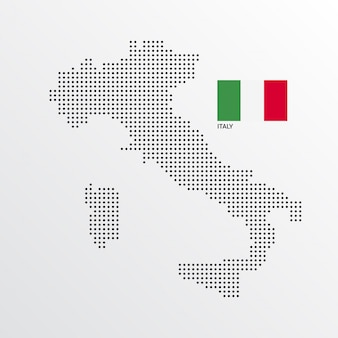 Italy Map design with flag and light background vector