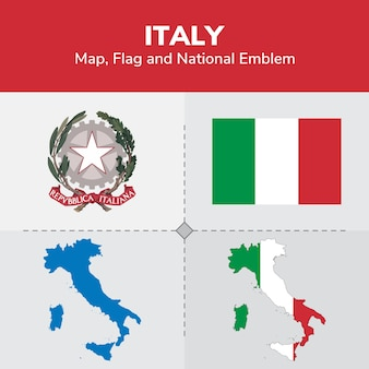 Italy map, flag and national emblem